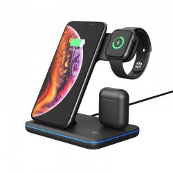 Бездротова зарядна станція-органайзер 3 в 1 GOLDFOX Z5 для IPhone/Android + Apple Watch + Airpods/AirDots + швидка зарядка QI Black