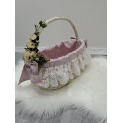 Плетений кошик Mama Mira з білої натуральної лози c декором рожева