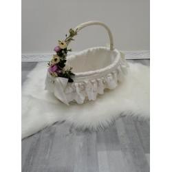 Плетений кошик Mama Mira з білої натуральної лози c декором біла