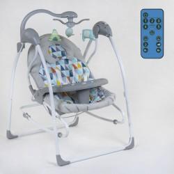 Дитяча гойдалка-шезлонг 3 в 1 JOY Polygons електронні гойдалки на управлінні