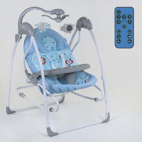 Дитяча гойдалка-шезлонг 3 в 1 JOY Blue Forest електронні гойдалки на управлінні