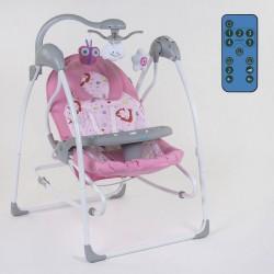 Дитяча гойдалка-шезлонг 3 в 1 JOY Pink Forest електронні гойдалки на управлінні