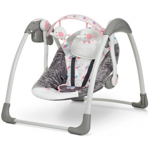 Гойдалки дитячі електронні Mastela Deluxe Bird сіро-рожевий
