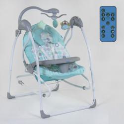 Дитяча гойдалка-шезлонг 3 в 1 JOY Mint circles електронні гойдалки на управлінні