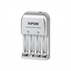 Зарядний пристрій на 4 акумулятора VIPOW 1 142 4xAA/AAA (3в1 мережу, авто, USB)