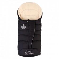 Зимовий прогулянковий конверт-плед Baby Breeze Black 80% овечої вовни на блискавки