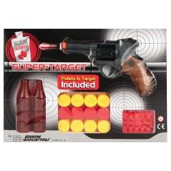 Іграшковий пістолет на кульці Edison Giocattoli Supertarget 19см 6-зарядний з мішенями (480/21)